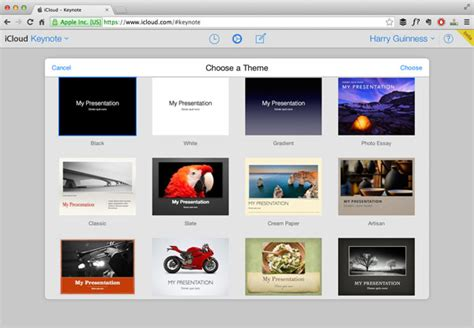 theme chooser keynote getting started with keynote for icloud