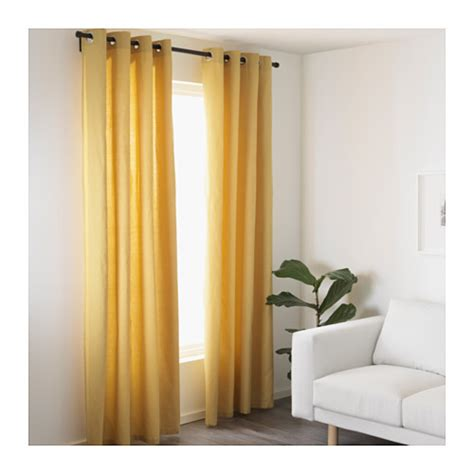 mariam curtains 1 pair yellow 145x250 cm ikea
