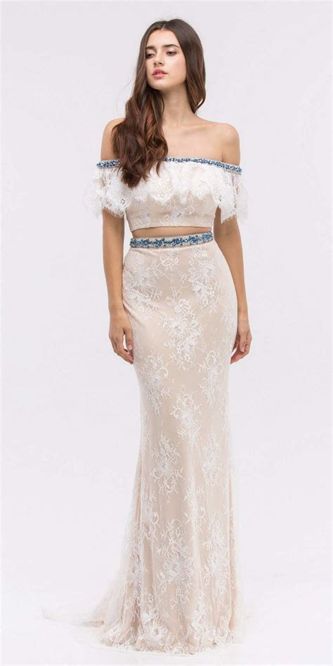 beaded ivory dress shoulder two beaded lace prom dress ivory