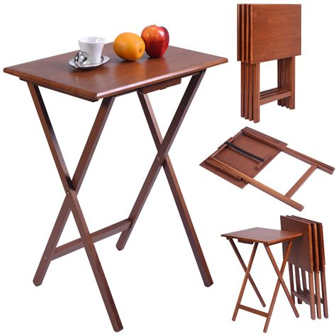 tv serving tray table set of 4 portable wood tv table folding tray desk