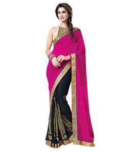 snapdeal shopping blue woman black and pink saree buy blue woman black and