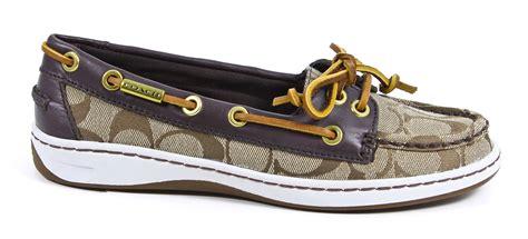coach richelle topsider womens boat shoes khaki chestnut