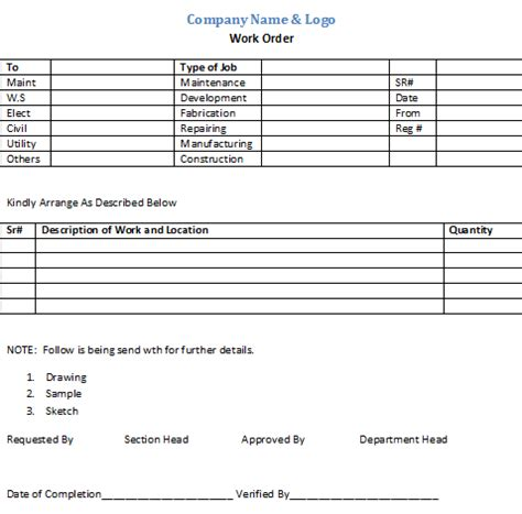internal work order form template free download