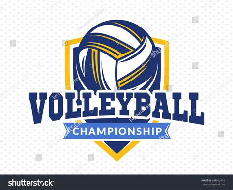 volleyball chionship logo emblem icons designs stock