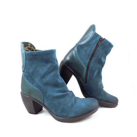 fly hota mid heel ankle boots in petrol blue