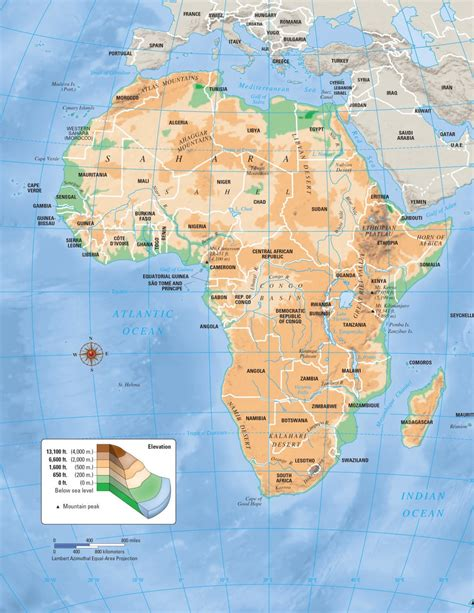 africa map key maps africa physical map