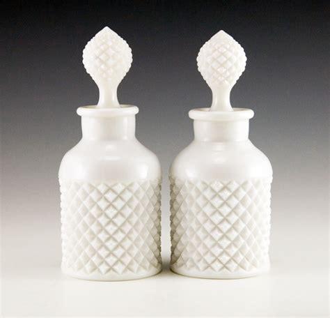 vintage white hobnail glass l vintage glass vanity bottle set retro glass