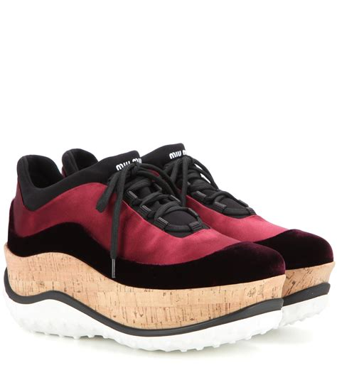 Platform Velvet Sneakers miu miu satin and velvet platform sneakers in lyst
