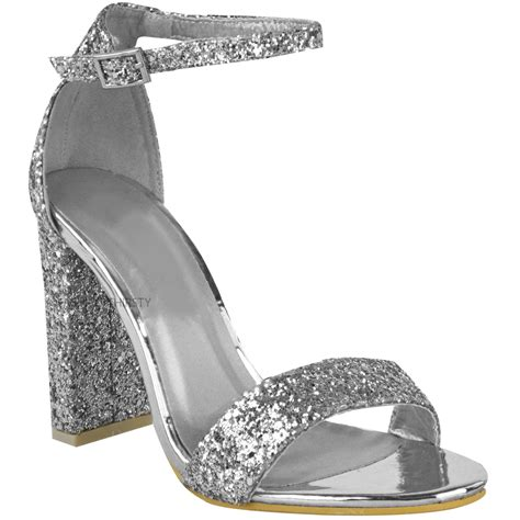 sparkly heeled sandals womens block heel ankle strappy glitter sandals