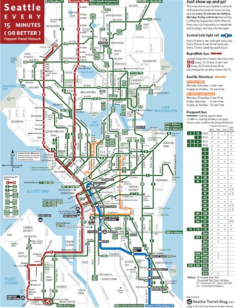seattle highway map seattle frequent network maps preview sept 2015