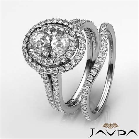 split shank halo oval engagement ring bridal set