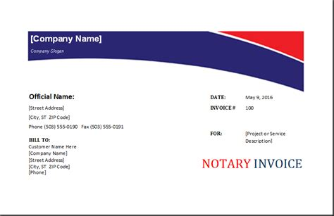 notary receipt template notary invoice template excel invoice templates