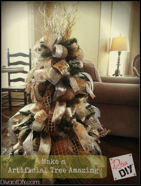 trick for making a fake christmas tree look fabulous how to make a artificial tree look amazing diva of diy