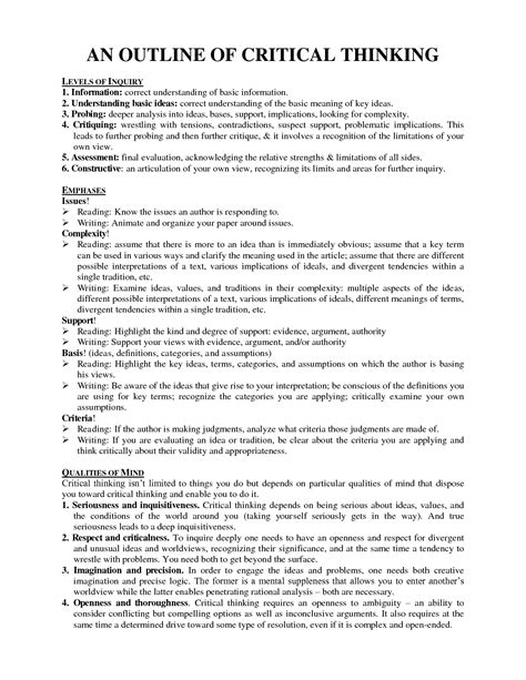 What Is A Critical Thinking Essay by Critical Thinking Essay Essays