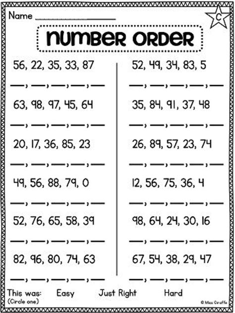 printable ordering numbers worksheets first grade math unit 11 comparing numbers skip counting