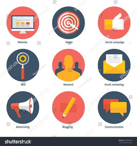digital marketing icons and marketing on pinterest