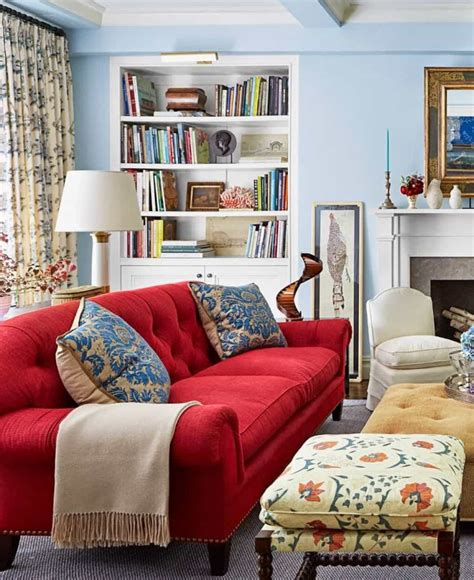 red and blue home decor living room with blue walls and a red sofa decorating