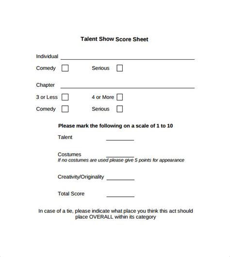 show templates sle talent show score sheet 9 exle format