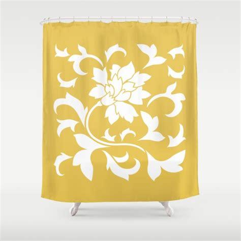 mustard yellow shower curtain shower curtain 71 by 74 oriental flower mustard