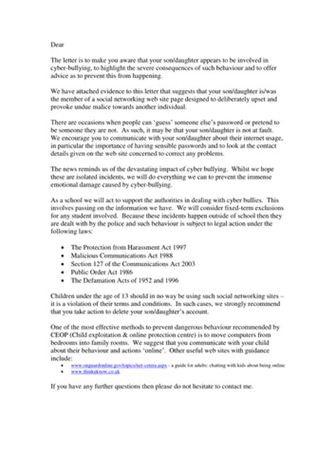 Parent Letter Bullying Letter Outline Informing Parents Of Cyberbullying By Clickschool Teaching Resources Tes