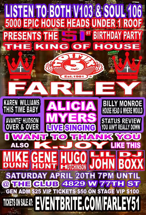 king of house music farley jackmaster funk s 51st birthday house party concert tickets sat apr 20