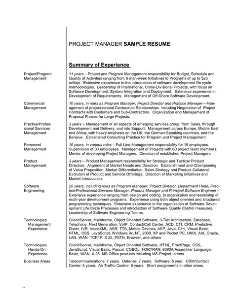 9 exle writing summary of experience for project best resume summaries resume sle