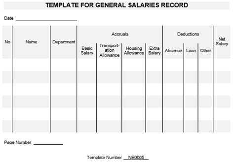 Records Salaries Ne0065 Template For General Salaries Record Namozaj