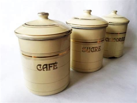 1940 s french kitchen canisters set french enamelware 1940 s french kitchen canisters set french enamelware
