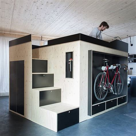 All About Closets by All In One Cube Is Room Within A Room That Hides Bed Bike Closet Office Treehugger