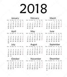 Calendario Ano 2018 Sencillo Calendario Para El A 241 O 2018 Foto De Stock