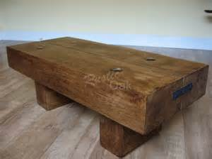 Beam coffee table with rustic bolts rustic oak furniture