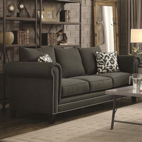 Charcoal Living Room Furniture Emerson Charcoal Living Room Set From Coaster 504911 Coleman Furniture