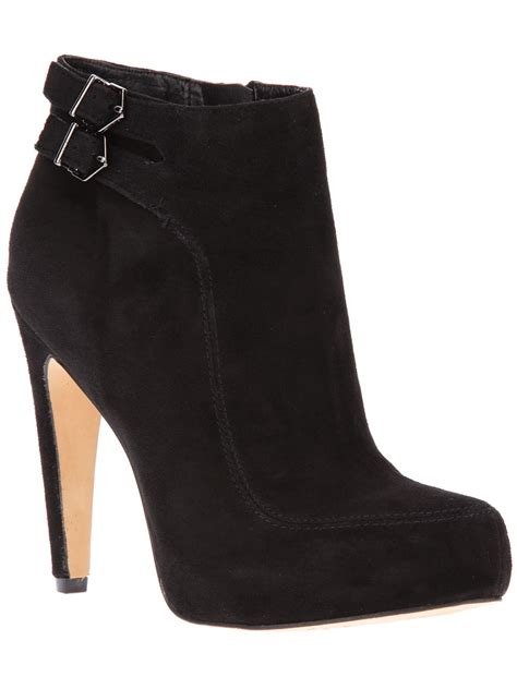 lyst sam edelman suede ankle boot in black