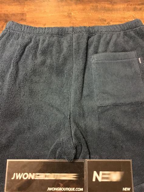 supreme terry logo shorts navy jwong boutique
