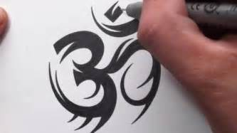 how to draw a tribal om symbol tattoo design youtube