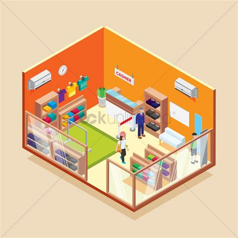 store layout vector isometric garments store vector image 1698324