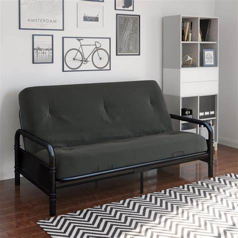 black metal futon mali metal arm black futon with 6 mattress dhp furniture