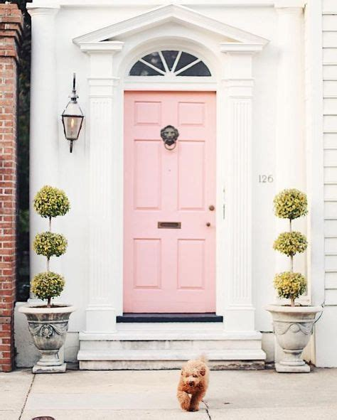 Pink Front Door Entry Charm With A Pastel Pink Door Home Pastel Pink Pastels And Doors