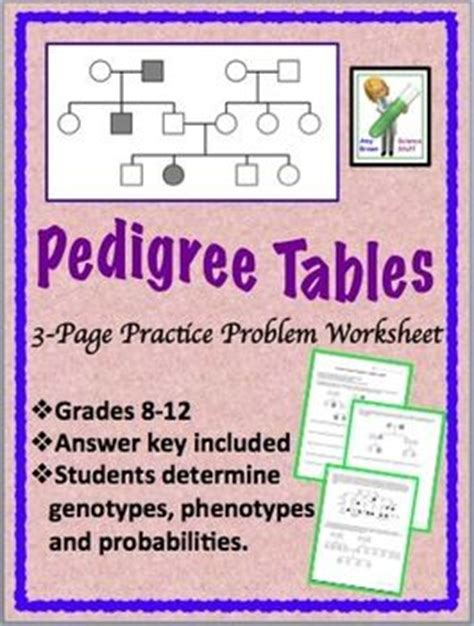 Genetics Practice Problems Pedigree Tables by 1000 Images About Genetics Activities On