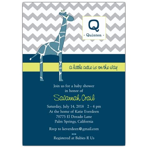 baby shower invitations for baby boy modern giraffe baby boy shower invitations paperstyle