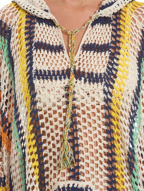 yellow baja anna kosturova baja striped crochet poncho in yellow lyst