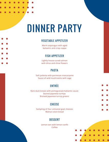 food photo overlay dinner party menu templates by canva