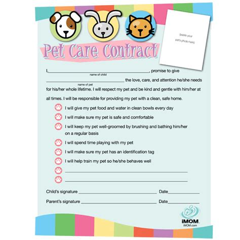 pet responsibility chart and contract printables 24 7 moms