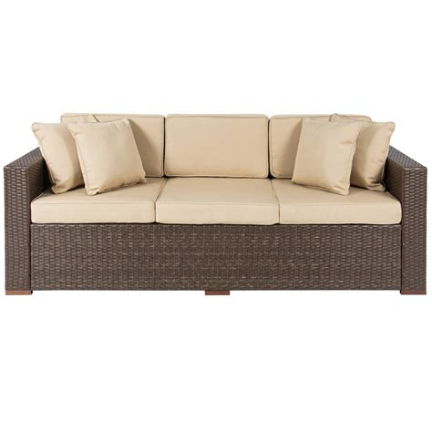 sofa brown 3 seater wicker sofa brown best choice products