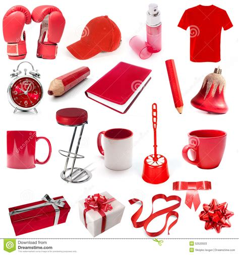 different reds different isolated objects red color stock image image