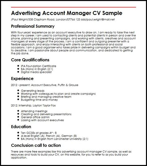 Advertising Account Manager Cover Letter by Advertising Account Manager Cv Sle Myperfectcv