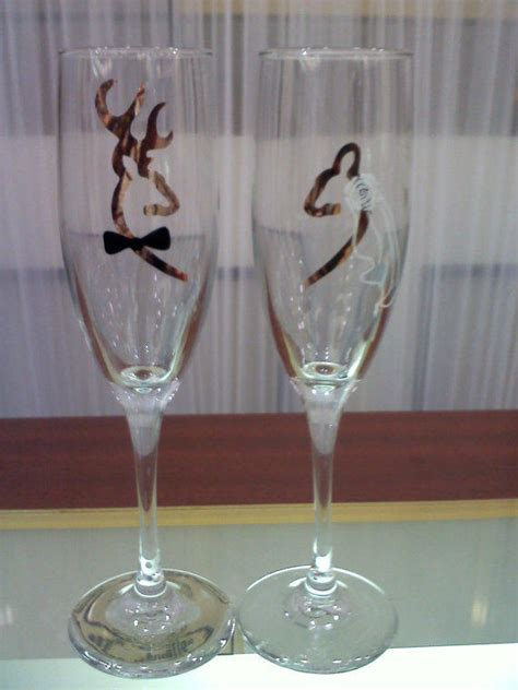 camo browning deer bride and groom from thatglassstore on etsy
