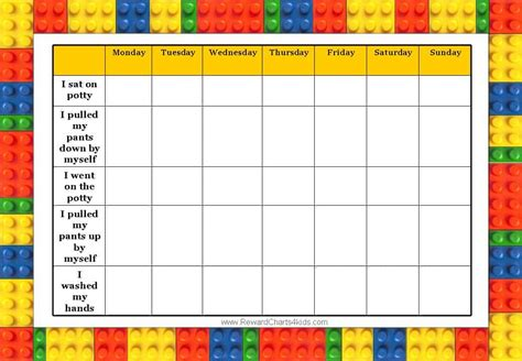 Toddler Reward Chart Template by Lego Charts