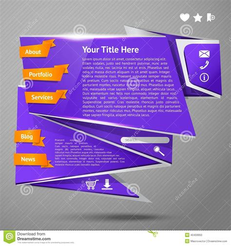 Origami Websites - origami website template stock vector image 40459950