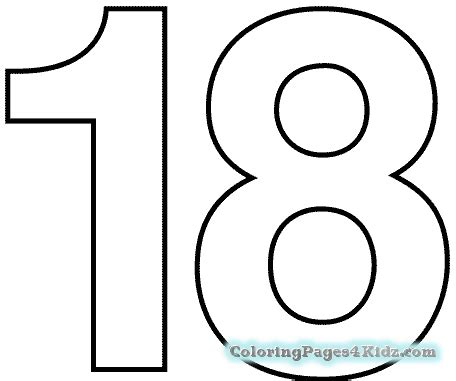 coloring page number 18 number 18 coloring page coloring pages for kids